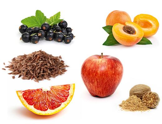 Die typischen Aromen der Rebsorte Bacchus, Apfel, Aprikose, Blutorange, Muskat und Kuemmel.