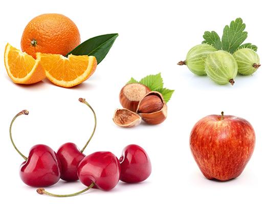 Die typischen Aromen für Biowein, Kirsche, Apfel, Haselnuss, Orange und Stachelbeere.