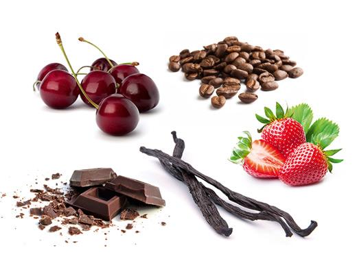 Die typischen Aromen eines roten Cuvées können sehr vielfältig sein, z.B.: Schwarzkirsche, Kaffee, Vanille, Schokolade, Erdbeere und viele mehr.