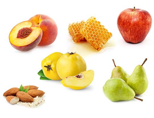 Die typischen Aromen der Rebsorte Grauburgunder, Mandel, Apfel, Birne, Pfirsich, Honig und Quitte.