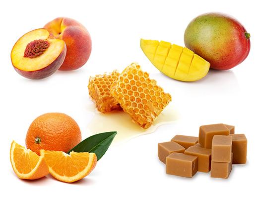 Die typischen Aromen der Rebsorte Huxelrebe sind Pfirsich, Orange, Mango, Honig und Karamell.