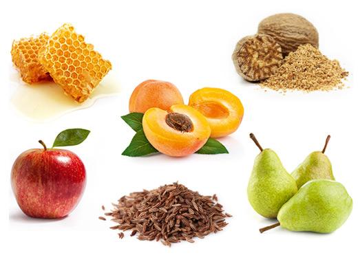 Die typischen Aromen der Rebsorte Kerner sind Apfel, Birne, Honig, Aprikose, Kümmel und Muskat.