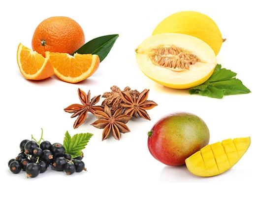 Die typischen Aromen der Rebsorte Scheurebe sind Cassis, Zitrus, Anis, Mango und Honigmelone.