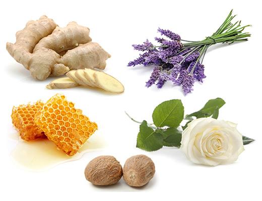 Die typischen Aromen der Rebsorte Traminer / Gewürztraminer sind Rose, Muskatnuss, Lavendel, Ingwer und Honig.