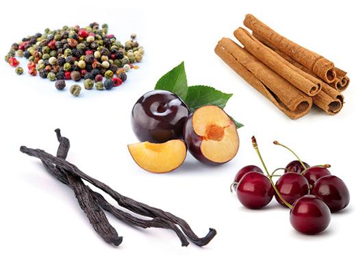 Die typischen Aromen der Rebsorte Zweigelt sind Schwarzkirsche, Zimt, Pflaume, Pfeffer und Vanille.
